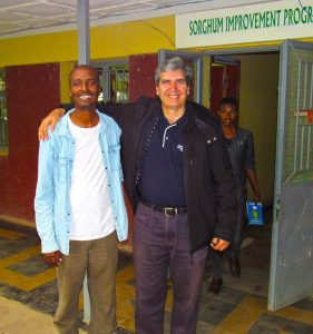 BPAT leader Dr Chris Lambrides with Sorghum physiologist Alemu Woldetensaye