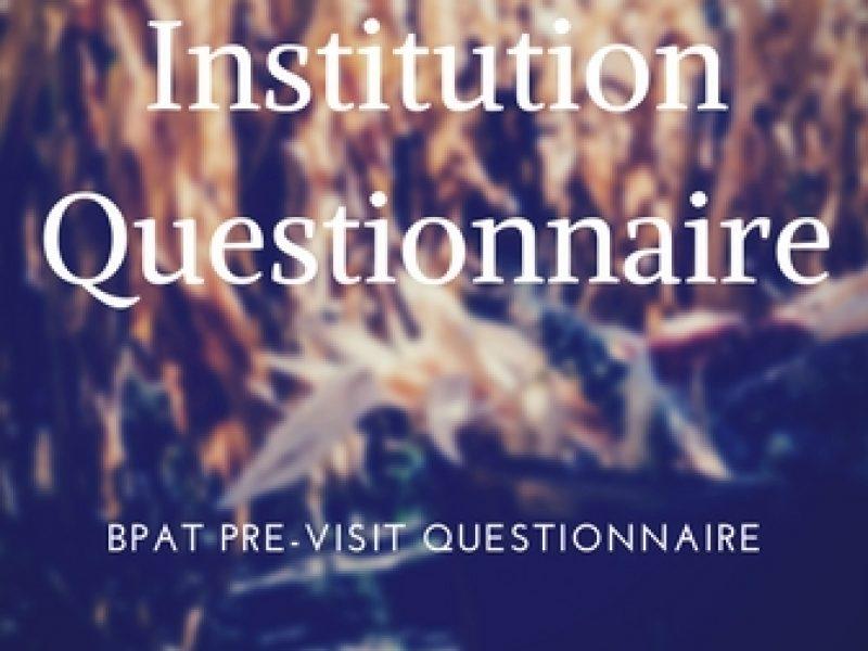 BPAT - pre-visit questionnaire for institution